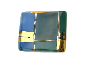 Brooch, square, porcelain